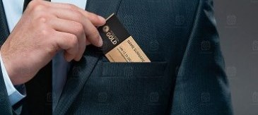 Taking business card out of pocket
