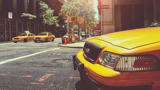 Taxi Cab in a city