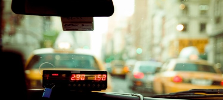 Inside a taxi showing the meter photo