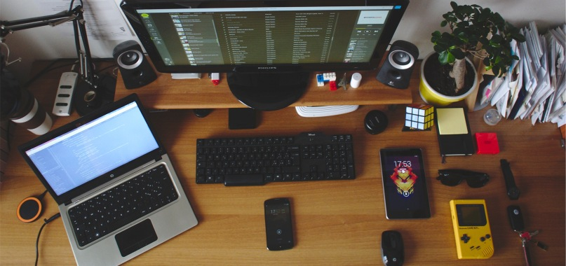 Computer and other electronic devices on a desk