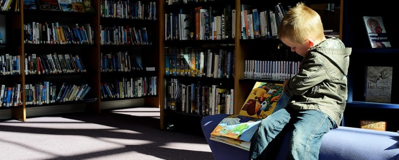 Child on bench reading a book in a library