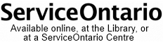 Service Ontario available online, at the Library or at a ServiceOntario Centre
