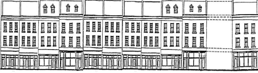 Drawing of a row of Downtown Heritage Buildings