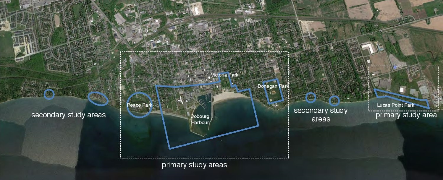 Aerial photo of Cobourg waterfront with highlighted subject areas